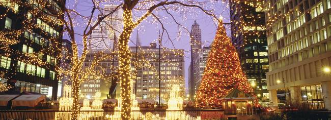 chicago Daley plaza at Christmas