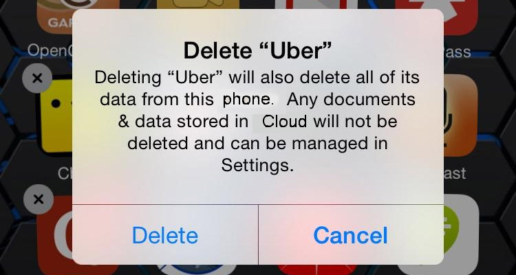 Delete uber app screen image