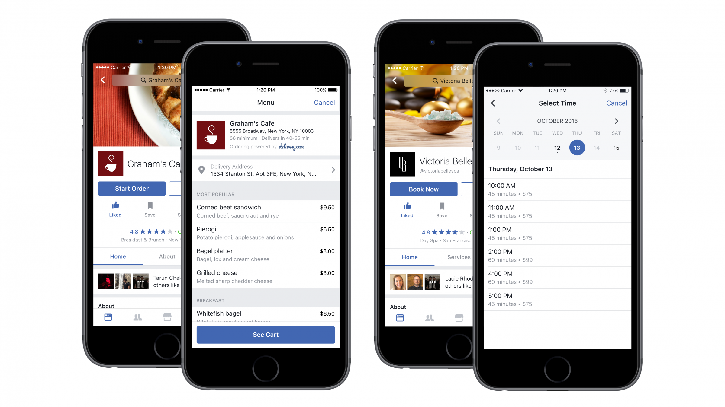 facebook screens with restaurants