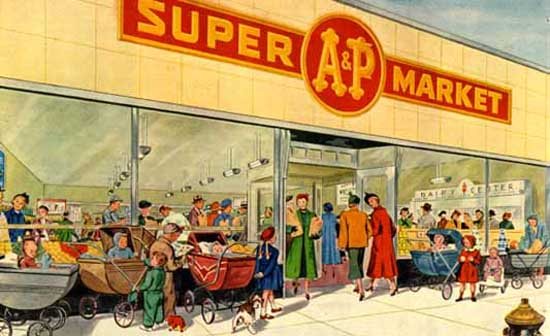 A&P Family store 1950's painting