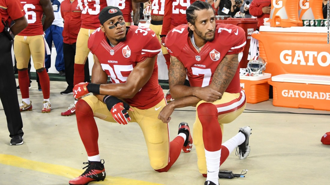 Colin Kaepernick kneels 2016, CNN photo