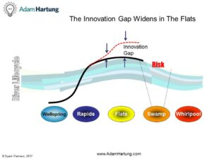 River Lifecycle showing Innovation Gap and risk
