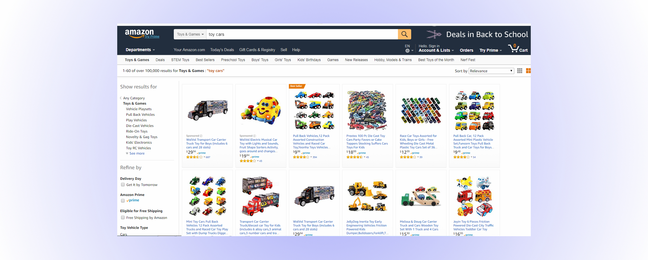 amazon.com toy car screen shot