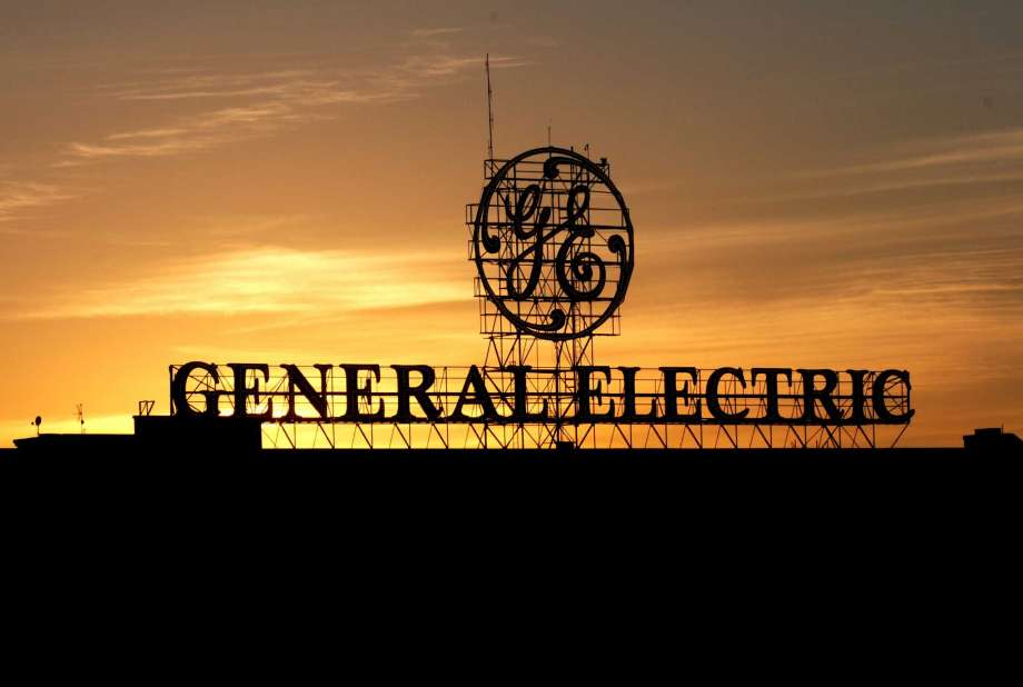 GE sign at sunset