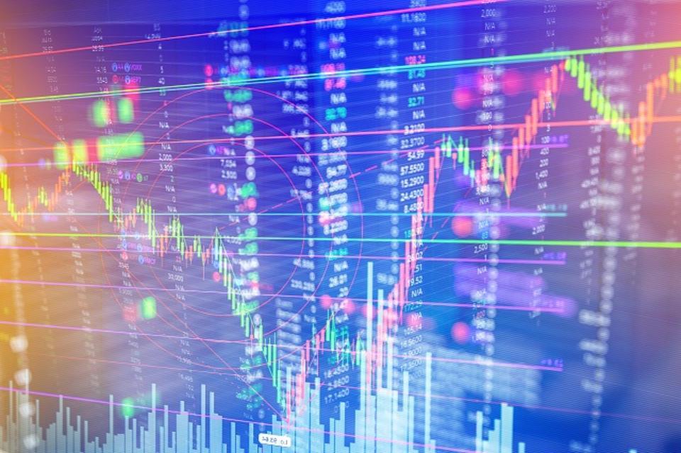 trend, yellow, blue, stocks