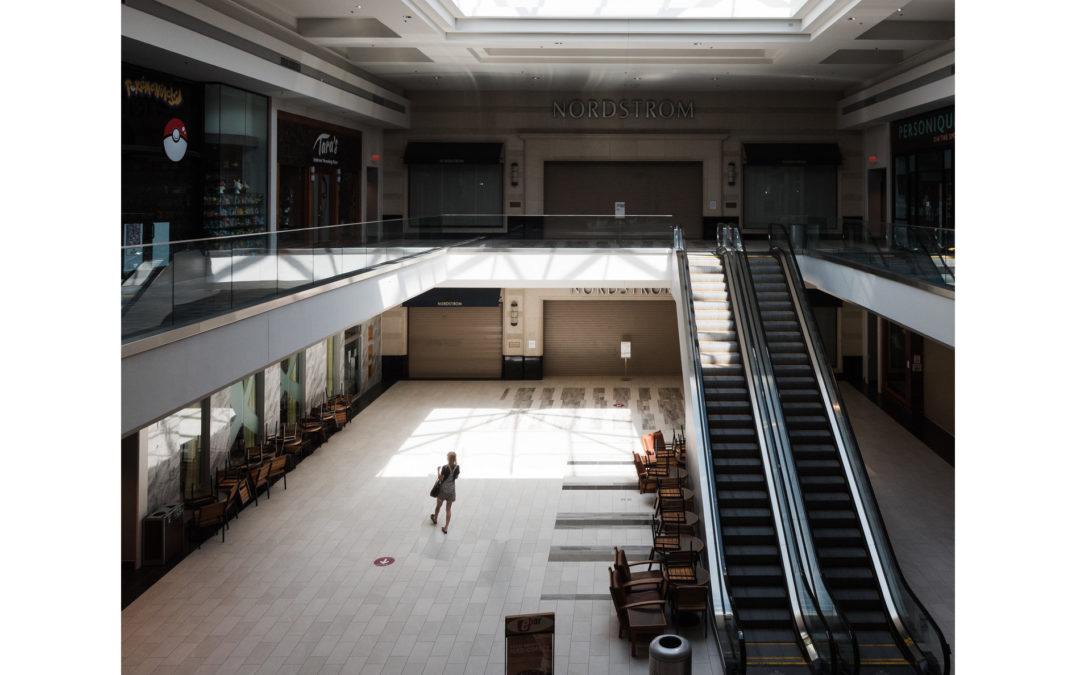 lonely shopper in closing mall