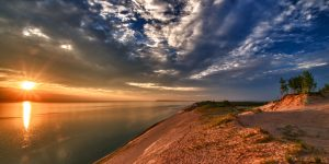 Sleeping Bear dunes at sunset
